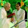 Sri Shivraj Singh Chouhan, CM of Madhya Pradesh, welcomes Sri M to MP