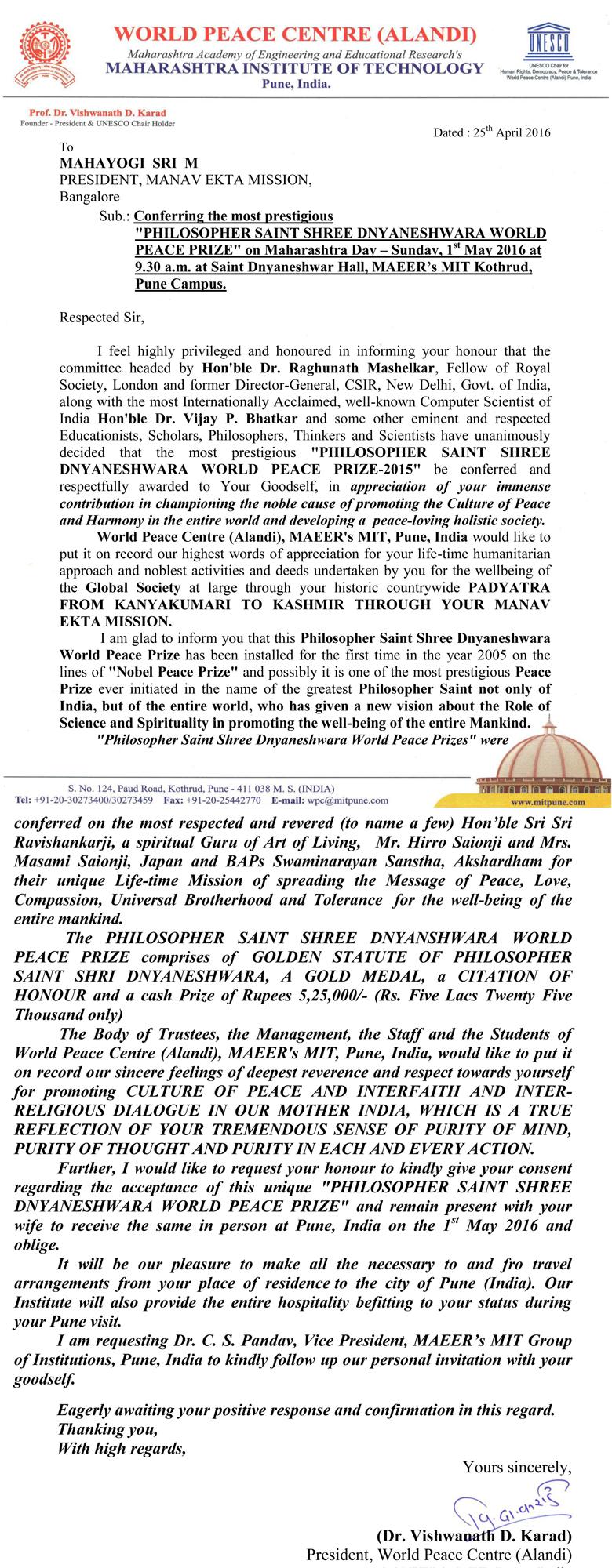 Shri-M-Letter-World-Peace-Prize-2016