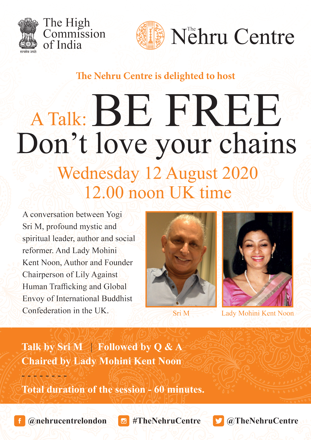 Sri M conversation with Lady Mohini Kent August 12 2020